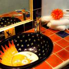 Mexican Talavera Tales and Hand Painted Sink in Bathroom