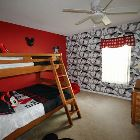 "Mickey Mouse Room, Solid Wood Bunk Beds, the Lower Being Doublebed in Size.   22"" Cable Tv/Dvd. Sharing a Mickey Mouse Themed Bathroom"