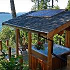 West Coast Style Cedar Gazebo with Ocean View Hot Tub