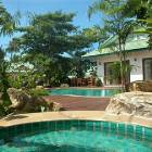 Private Pool and Jacuzzi Set in Tropical Garden
