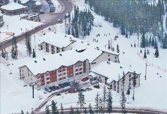 Arial Photo of the Eagles, Showing Ski Runs on Right and Plaza Chair on Left