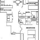 Floorplan of this 1,100 Square Foot Two Bedroom Two Bath Ground Level Condo
