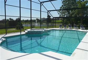 6 Bed 4 Bath Villa 2 Miles to Disney Huge Pool W/Spa View of Lake W/ Fountain