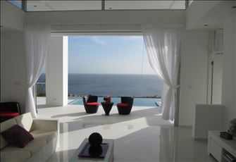 Modern Custom Villa on Edge of Cliff in a Gated Resort Overlooking the Azure Sea