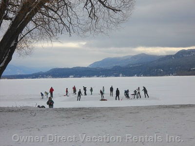 Hockey, skating and snow shoeing on Lake Windemere