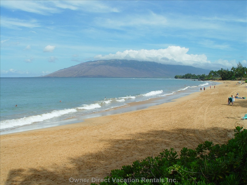 Kamaole One Beach, a half mile of white sand just steps from the Royal Mauian