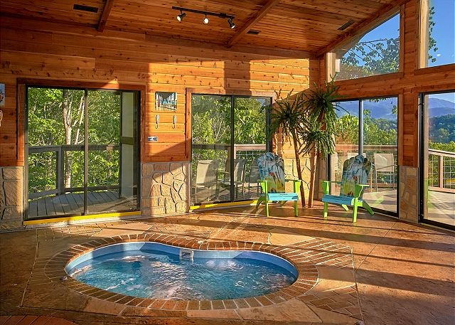 Indoor hot tub with a view