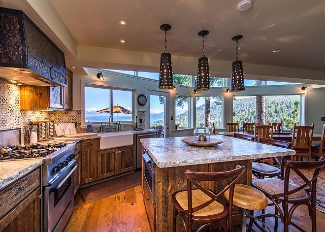 High-end kitchen, complete with a large granite island