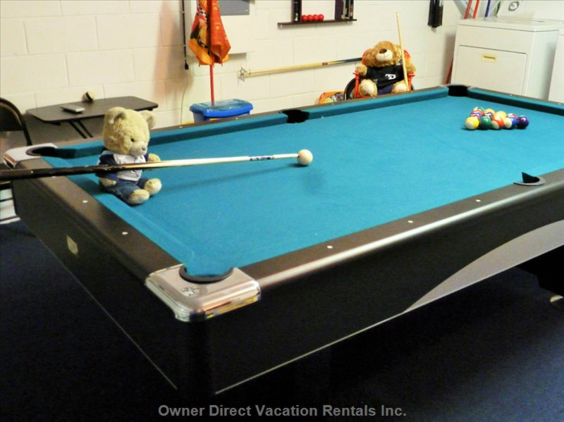 The Games Room Pool Table is 8-Foot 1-Inch Slate with 3 Lengths of Pool Cue