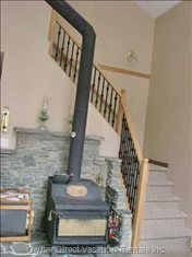 Stairs and Wood Stove