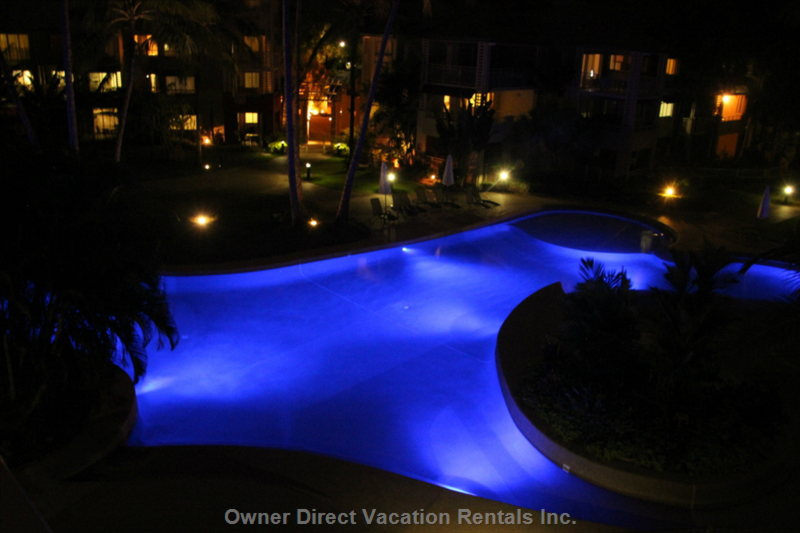 Romantic View of Pool from Front Balcony