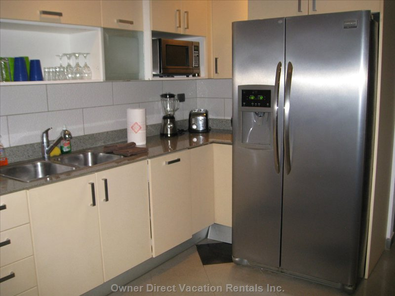Blender, Micro Wave, Toaster, Large Fridge with Freezer and Ice Machine