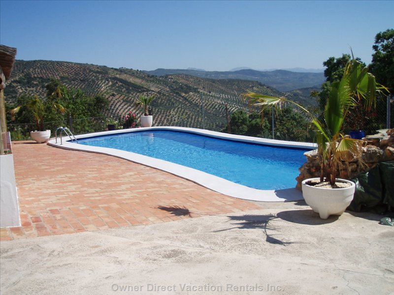 Swimming Pool - the Valley with Olive Groves and Mountain Views( Partial View of the Lake When Full ).