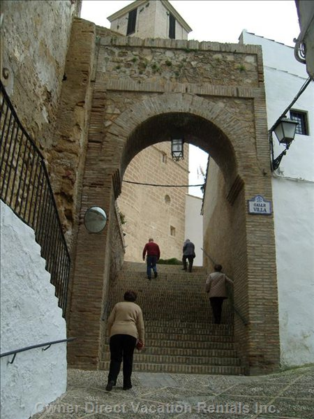 Iznajar Town - Steps Leading up to the Castle and the Church with Panoramic Views.