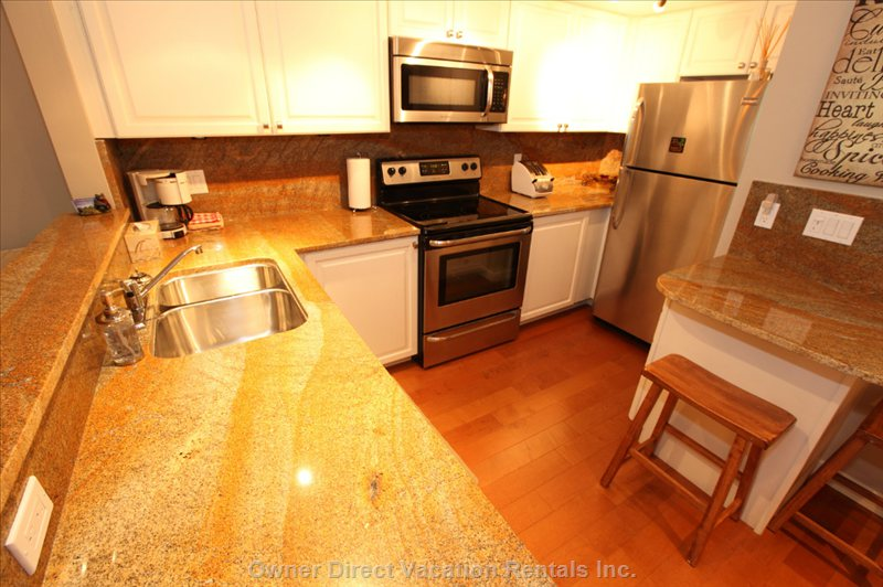 New Stainless Appliances; Granite Counters; all New Dinnerware/Serving Ware; Full Complements of Pots/Pans/Glassware!