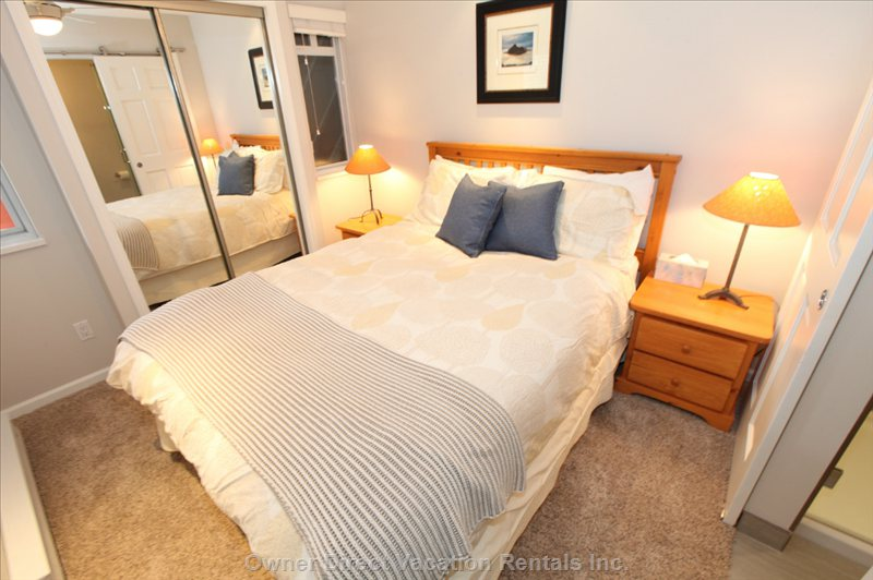 Second Bedroom Queen Sized Bed; Side Tables; Ceiling Fan; Closet with Luggage Racks; Ensuite 2nd Bathroom