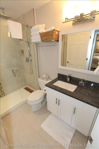 Brand New Renovated Main Bathroom with Walk in Rain Shower & Side Wand
