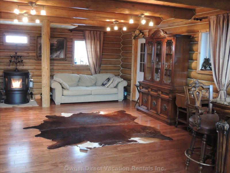 Cozy Great Room with a Pellet Stove