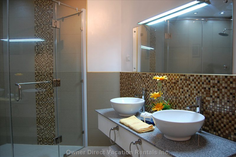 Unsuite Shower Room to Bedroom 1 , Hot and Cold Water Power Shower Fully Tiled Shower Area.