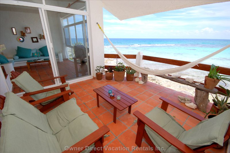 Front Balcony Terrace with Seating, Hammock and Views! - this is all yours!