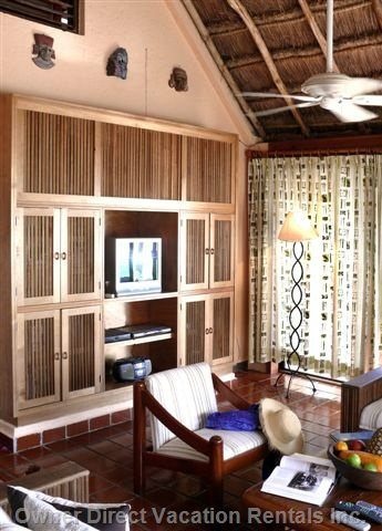 Entertainment Center in Grand Room - Custom Made Entertainment Center Crafted from Native Mahogany Hardwood
