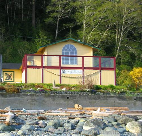 Front of Lodge with Beach