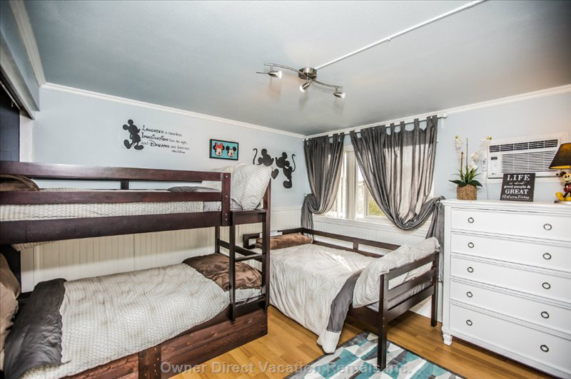 Three Twin Sized Beds and the Mickey and Minnie Motif