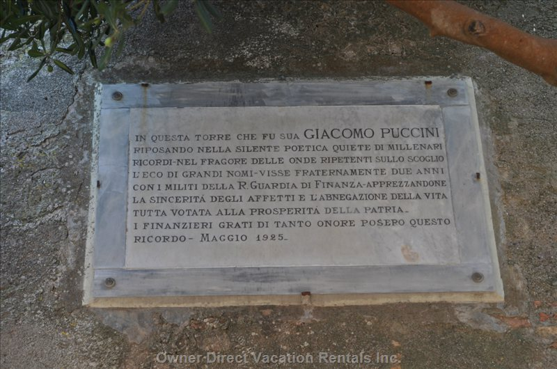 The Commemorative Plaque to the Italian Composer, Giacomo Puccini who Lived an Passed Away Here