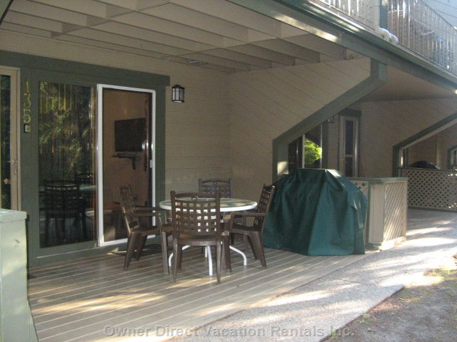 Cedar Deck with Gas Barbecue/Patio Table/Chairs with View - Overlooking Wooded Forest. New Lawn and Trees