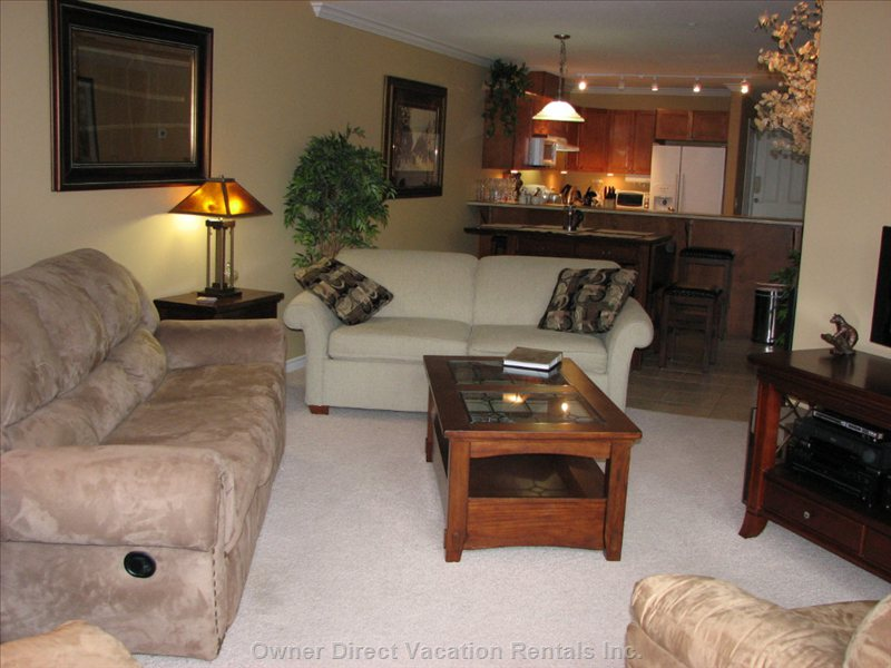 Spacious Living Area - First Time Guests Frequently Comment that Condo Looks much Larger than Perceived by the Pictures.