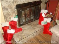 Fireplace and Stockings at Christmas