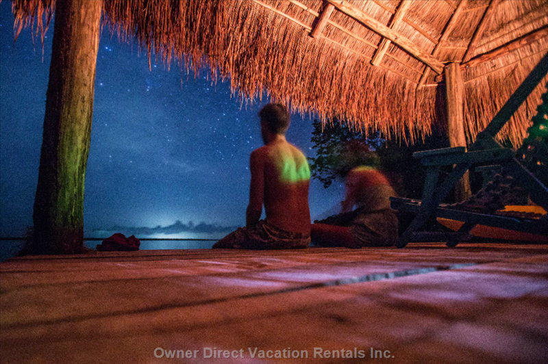 Stargazing on Maya Cala 's Dock/Palapa