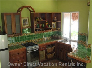 The Casita Kitchen - the Beautiful Cool Green Kitchen in the Casita