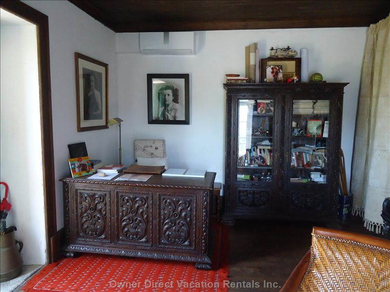 Air Conditioning Unit in Office with Antique Furniture
