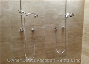 Master Large Double Shower with Rain Clouds on Ceiling