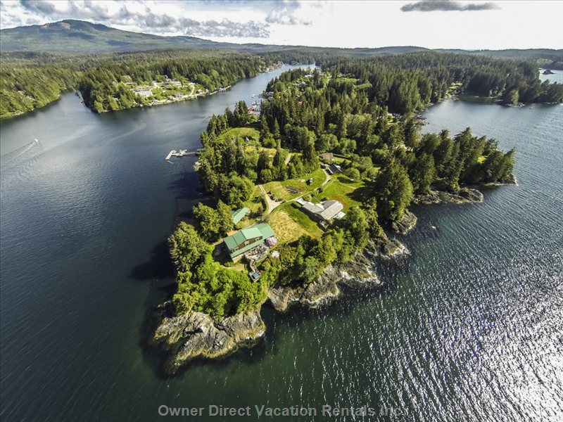 Aerial View of our House on Aquilar Point and Bamfield Inlet.