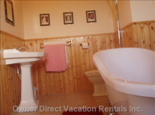 Bathroom - the En Suite Bathroom has a Large Slipper Tub and Shower over Tub. Panelled Pine and Mirrors, Clock and Table of Celtic Ironwork , Add Style to the Bathroom.