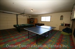 Exciting Gameroom with Pool Table, Foosball, Ping Pong, Poker Table Top, Cable TV and Videos!