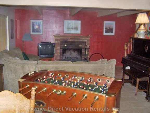 Downstairs Recreation Room 2, Card Table, Piano, Foosball