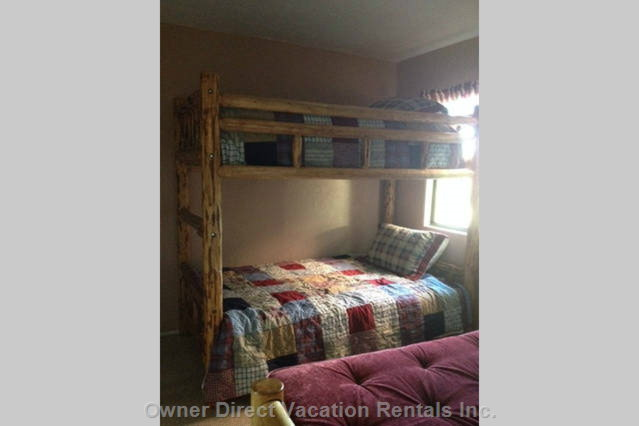 Beautiful Log Furniture in Front Bedroom, Includes Bunk Bed and Futon.