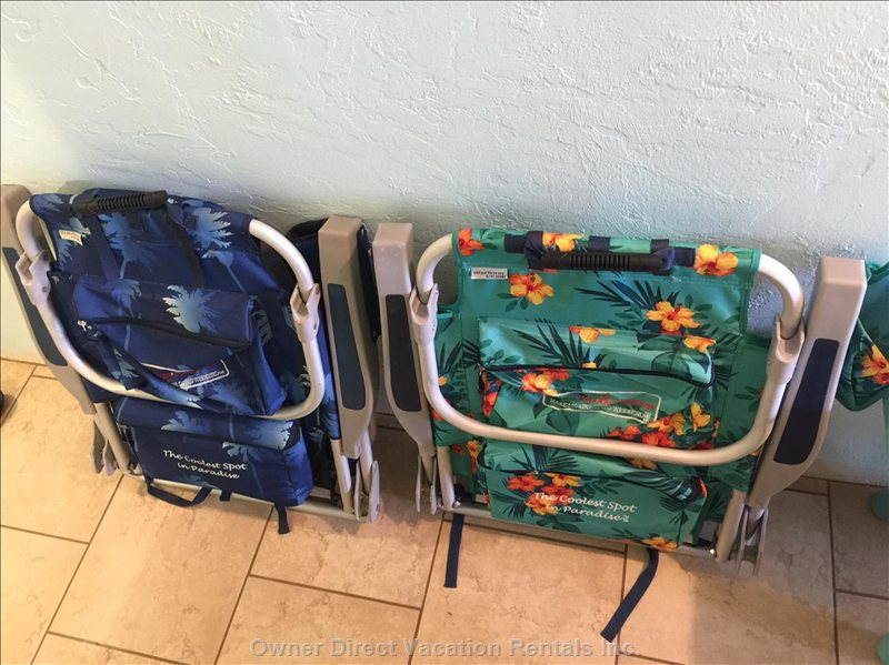 Tommy Bahama Beach Chairs for your Use.  I Also Provide Snorkel Equipment and Beach Towels