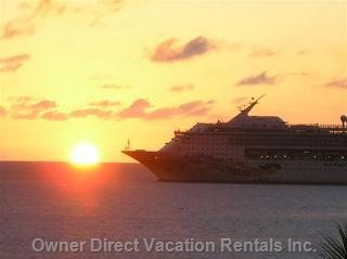 Sunset with Cruise Ship View from Living Room