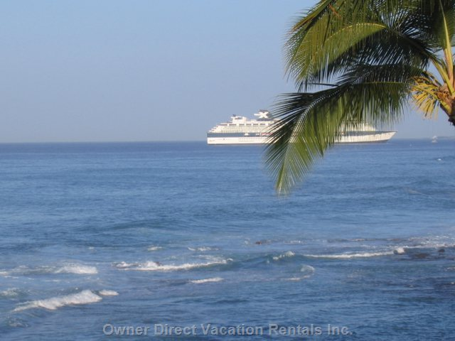 View of Cruise Ship in Front of Kona Alii (from the Deck)