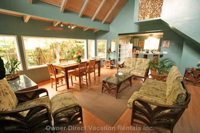 The Living Room is Light and Bright, Decorated Hawaiian Styl