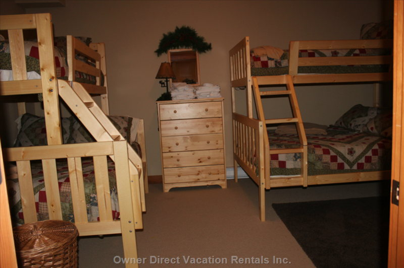 Bunk Room with 2 Sets of Twin over Double Bunks