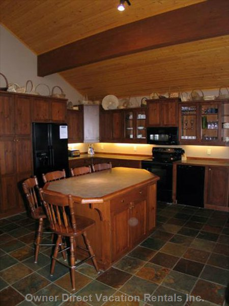 Kitchen has a Large Island with Seating