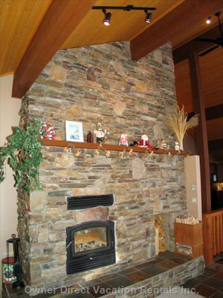Rock Faced Wood Burning Fire Place