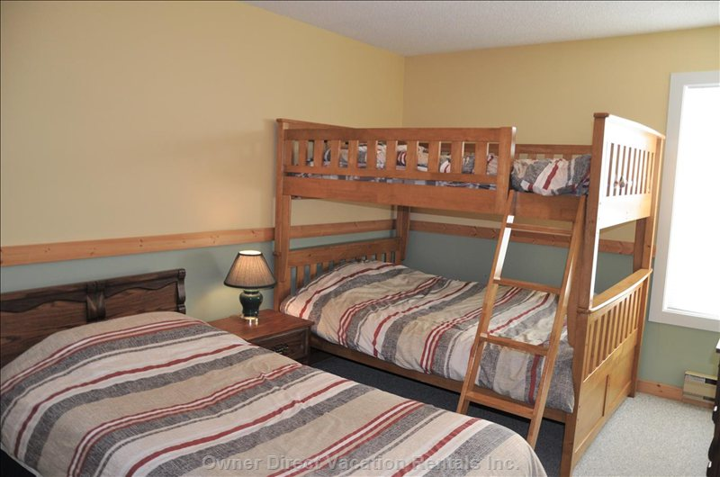 2nd Bedroom with 1 Single Bed and Double Bunks