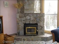 Stone Fireplace with a Wood Insert, Cozy and Romantic!