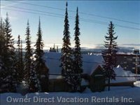 View of the Monashee Mtns. And Village from Master Bedroom. This is a Great Location!!